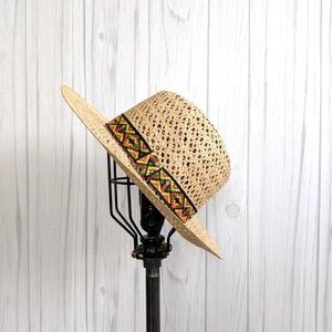 Wicker Cowboy Hat with Southwestern Print Band